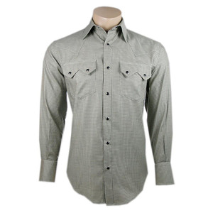 Pinto Ranch by Stubbs Black and Khaki Pattern Snap Shirt
