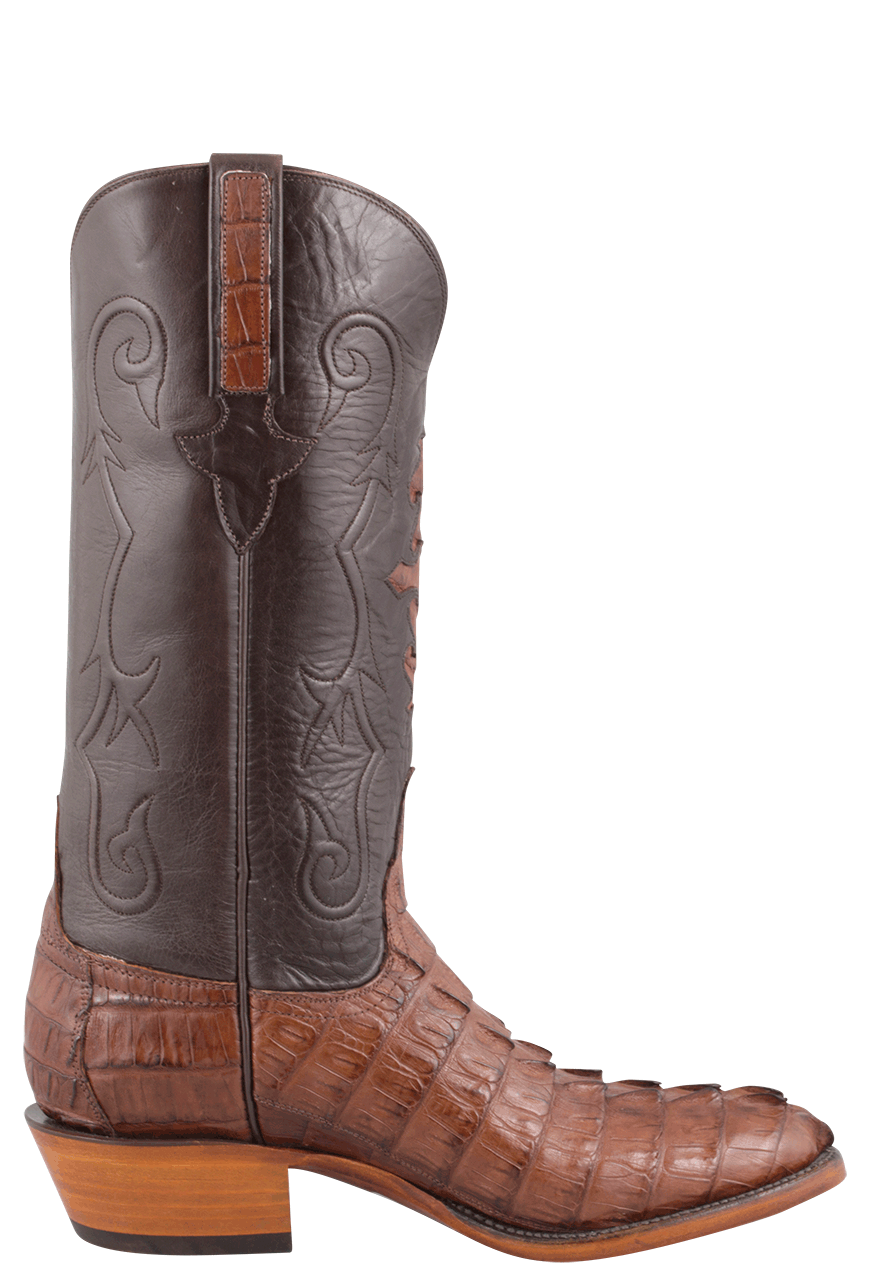 Lucchese Men S Cigar Hornback Caiman Tail Boots Pinto Ranch