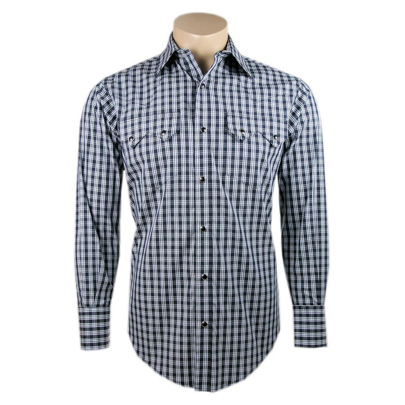 Pinto Ranch by Stubbs Light Blue and Black Plaid Snap Shirt - Front