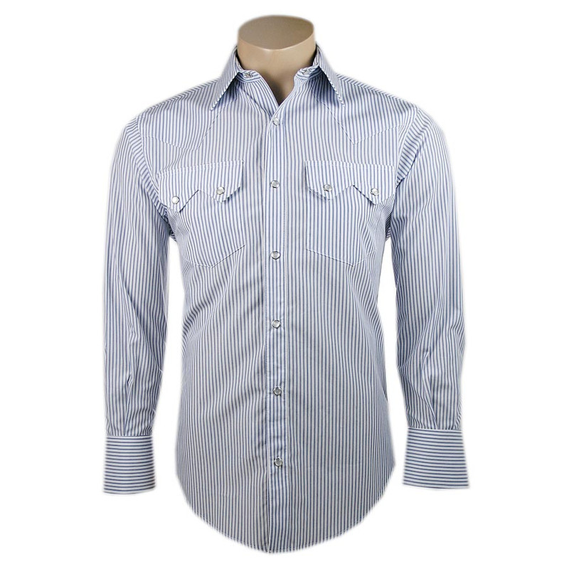 Pinto Ranch By Stubbs Blue and Purple Stripe Snap Shirt - Front