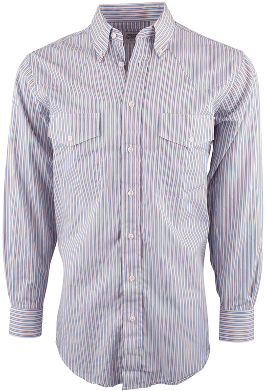 GITMAN BROS. WHITE STRIPED SHIRT-FRONT