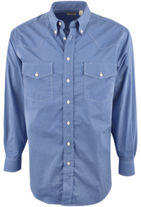 GITMAN BROS. BLUE GRAPH CHECK SHIRT - Front