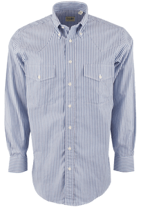 Gitman Bros. Blue and White Stripe Shirt - Front