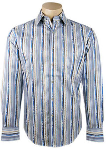 "Robert Graham - ""Piccolo"" Blue Stripe Shirt- Front"