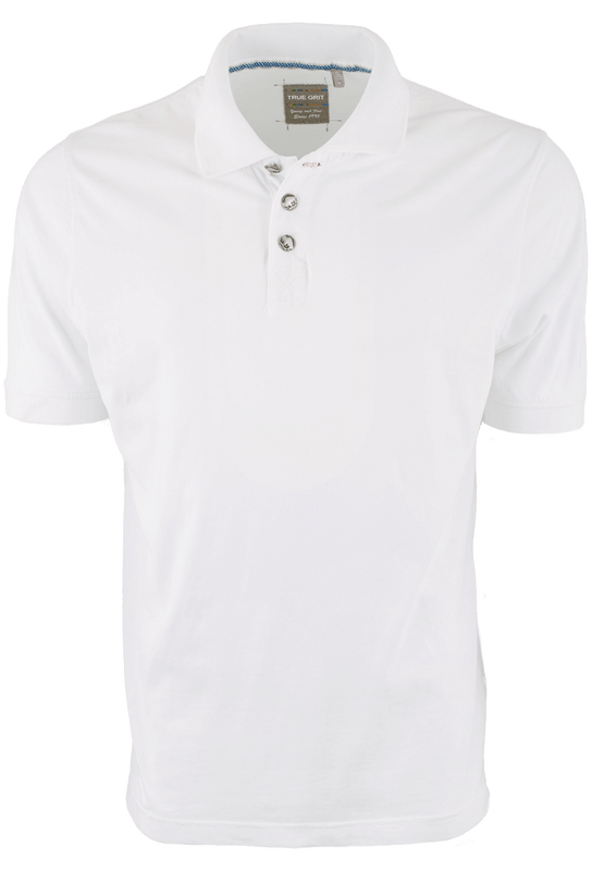 True Grit Short Sleeve Jersey Polo - White - Front