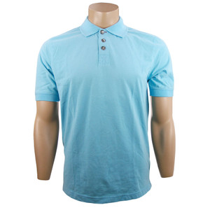 True Grit Short Sleeve Jersey Polo - Crystal Blue