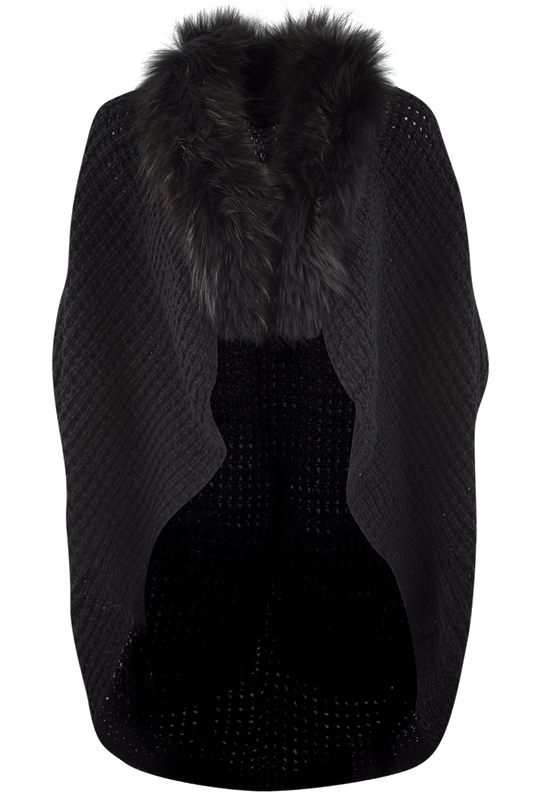 Linda Richards Knitted Fur Cape - Black - Front