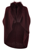 Linda Richards Knitted Fur Cape - Wine - Front