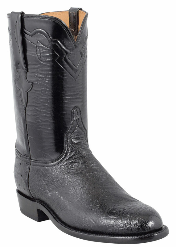 Lucchese Men S Black Smooth Ostrich Roper Boots Pinto Ranch