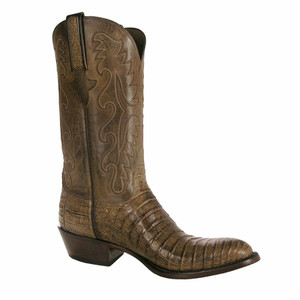 Lucchese Men's Tan Waxed Belly Caiman Boots