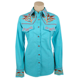 Vintage Collection Turquoise Embroidered Western Snap Shirt