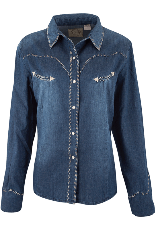 Scully Denim Whipstich Western Snap Shirt - Front