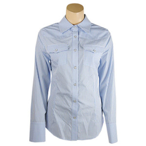 Stubbs Women's Multi-Check Western Snap Shirt - Blue