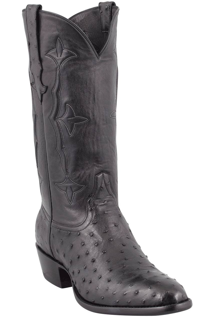 Stallion Men S Black Full Quill Ostrich Boots Pinto Ranch