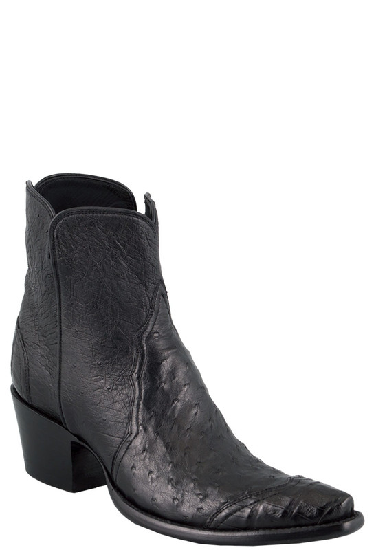 Stallion Women S Zorro Black Ostrich And Caiman Ankle