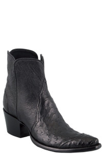 Stallion Women's Zorro Black Ostrich and Caiman Ankle Boots - Hero