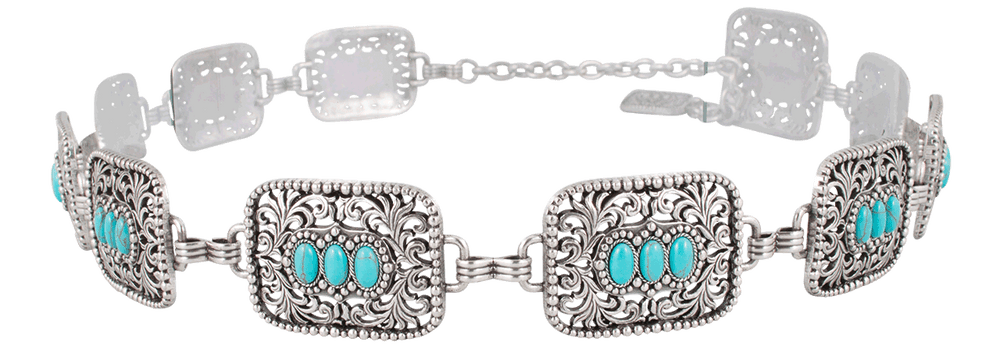 Filagree Turquoise Concho Chain Belt