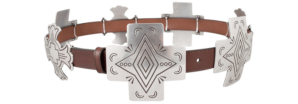 Silver Cross Concho Belt - Brown