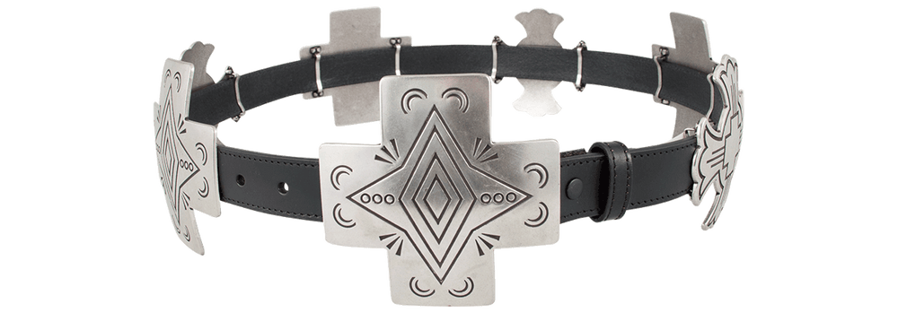 Silver Cross Concho Belt - Black