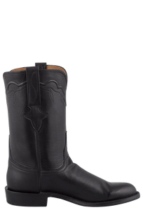 Lucchese Men's Black Ranch Hand Roper Boots - Side