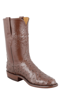 Lucchese Men's Cigar Full-Quill Ostrich Roper Boots - Hero