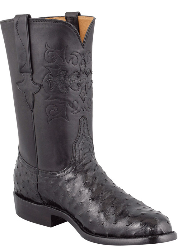 Lucchese Men's Black Full-Quill Ostrich Roper Boots - Hero