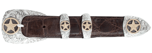 "Greg Jensen Stars Gold and Silver Engraved 1"" Buckle Set"