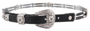 Buffalo Horn Two Strand Belt - Black - Front