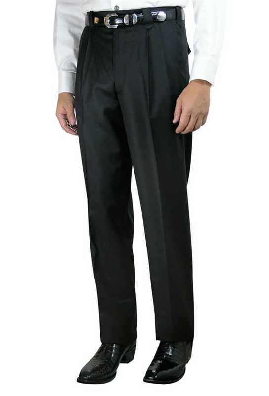 Luxury Pleated Western Dress Slacks - Black - Front