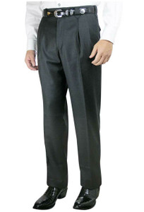 Luxury Pleated Western Dress Slacks - Charcoal - Front