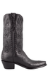 Stallion Women's Black Calf and Gator Wingtip Boots - Side