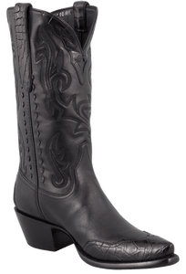 Stallion Women's Black Calf and Gator Wingtip Boots - Hero
