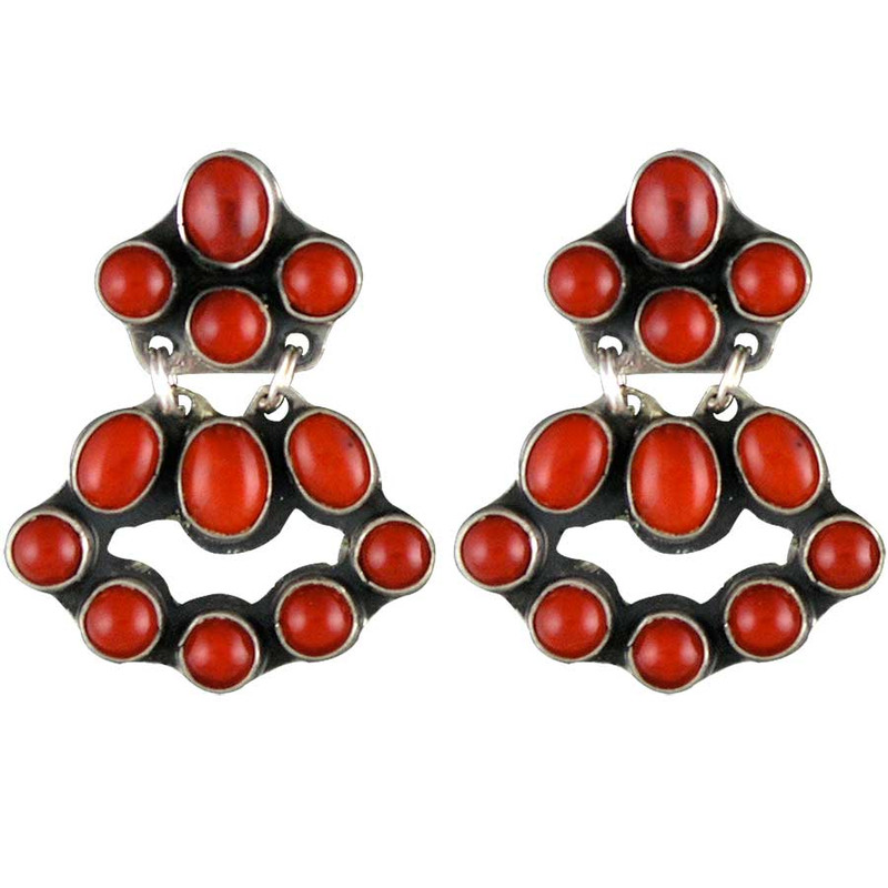 Red Coral Chandelier With 3 Lights: Red Coral Mini Chandelier Earrings