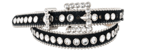 Narrow Crystal Belt - Black
