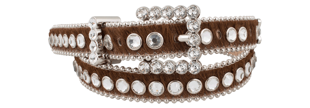 Narrow Crystal Belt - Brown