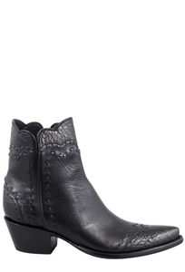 Stallion Women's Zorro Black Gator Ankle Boots - Side