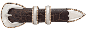 """Randall Moore Lariat Rope Edge Gold and Silver 1"""" Buckle Set"""