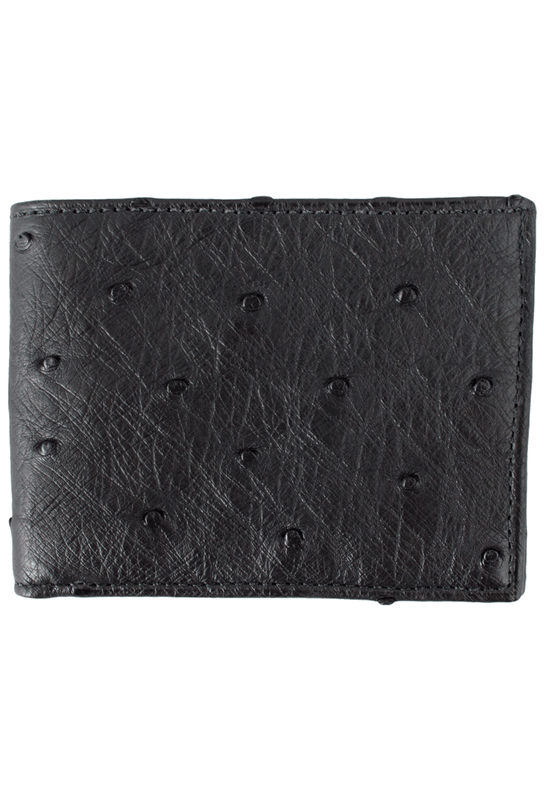Ostrich Classic Wallet - Black - Front
