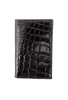 Alligator Gusseted Black Card Case - Black - Front