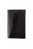 Lizard Gusseted Card Case - Black - Front