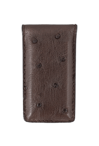 Ostrich Magnetic Money Clip - Brown - Front
