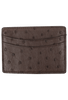Ostrich Sport Clip Card Case - Brown - Front