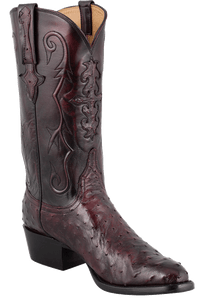 Lucchese Men's Black Cherry Full-Quill Ostrich Boots - Hero