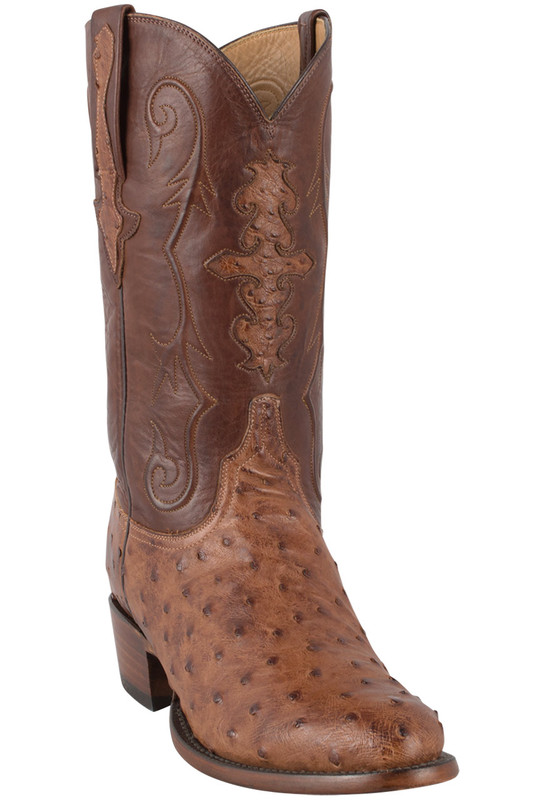 Men S Lucchese Ostrich Boots Shop Men S Barnwood Full