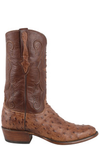 Lucchese Men's Barnwood Full-Quill Ostrich Boots - Side