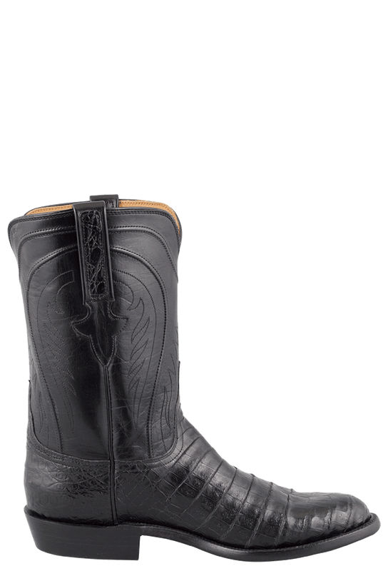 Lucchese Men S Black Belly Caiman Roper Boots Pinto Ranch