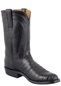 Lucchese Men's Black Belly Caiman Roper Boots - Hero