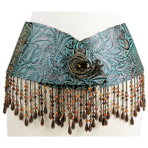 """Hipster"" Narrow Fringe Belt - Multi"
