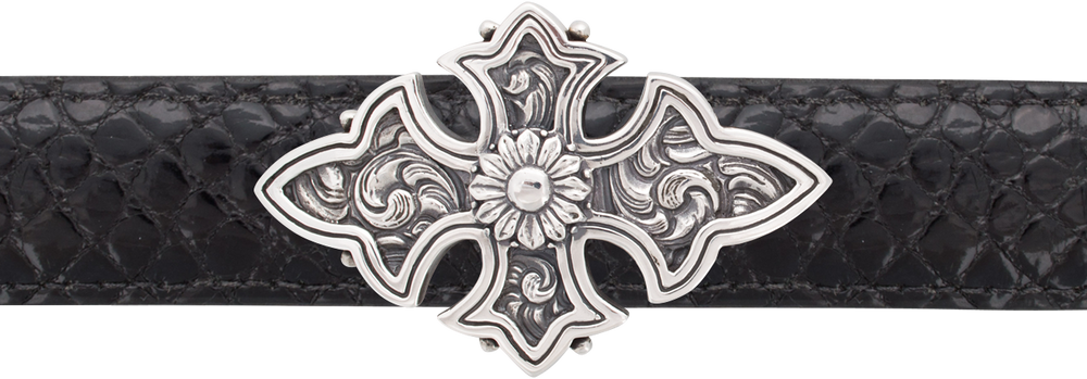 "Jeff Deegan Small Engraved Cross 1 1/2"" Trophy Buckle"