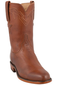 Lucchese Men's Cognac Burnished Ranch Hand Roper Boots- Hero